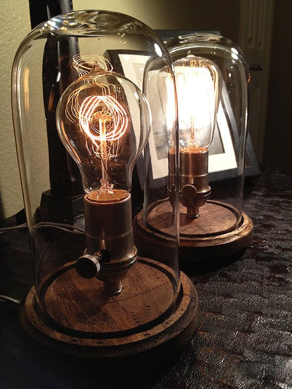 set of 2 edison style desk lamps via etsy