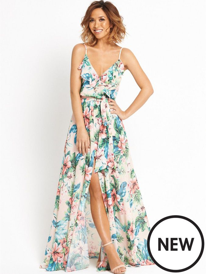 56adf72cf427 Myleene Klass Ruffle Front Floral Maxi Dress | Dresses | Maxi dress ...