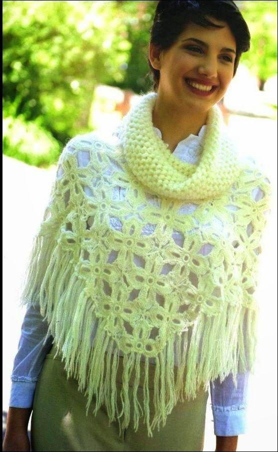Patrones para tejer con ganchillo poncho de mujer con lindo diseño ...