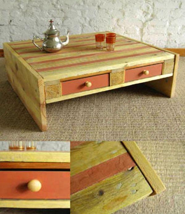 DIY Möbel aus Europaletten couchtisch schubladen orange gelb - sonnenliege aus paletten bauen