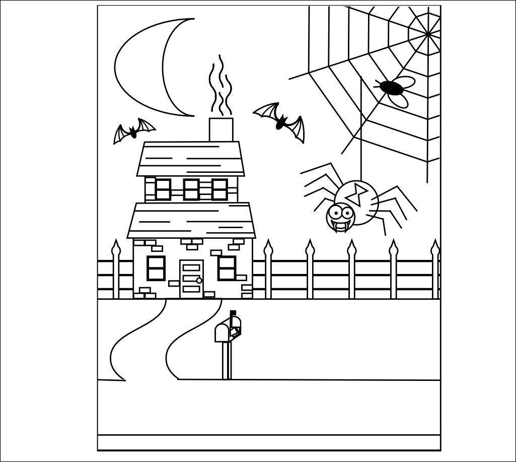 Halloween Haunted House Coloring Pages Printables | Autumn ...