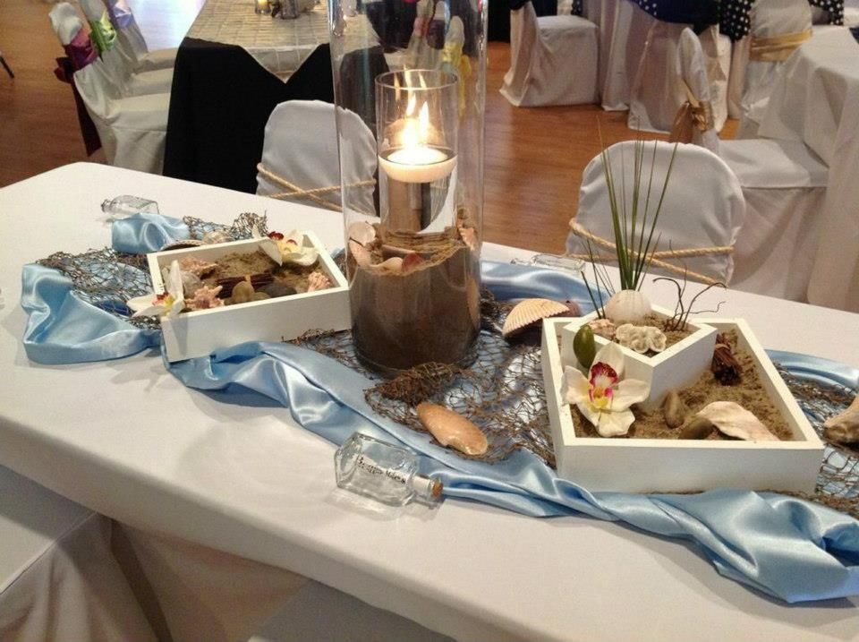 http://simplyunique-kc.com/wedding - Check out these beautiful centerpieces. Perfect for a beach themed wedding.