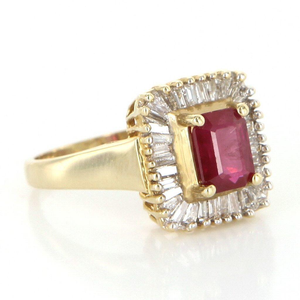 Vintage 14 Karat Gold Diamond Ruby Square Cocktail Ring Estate Fine