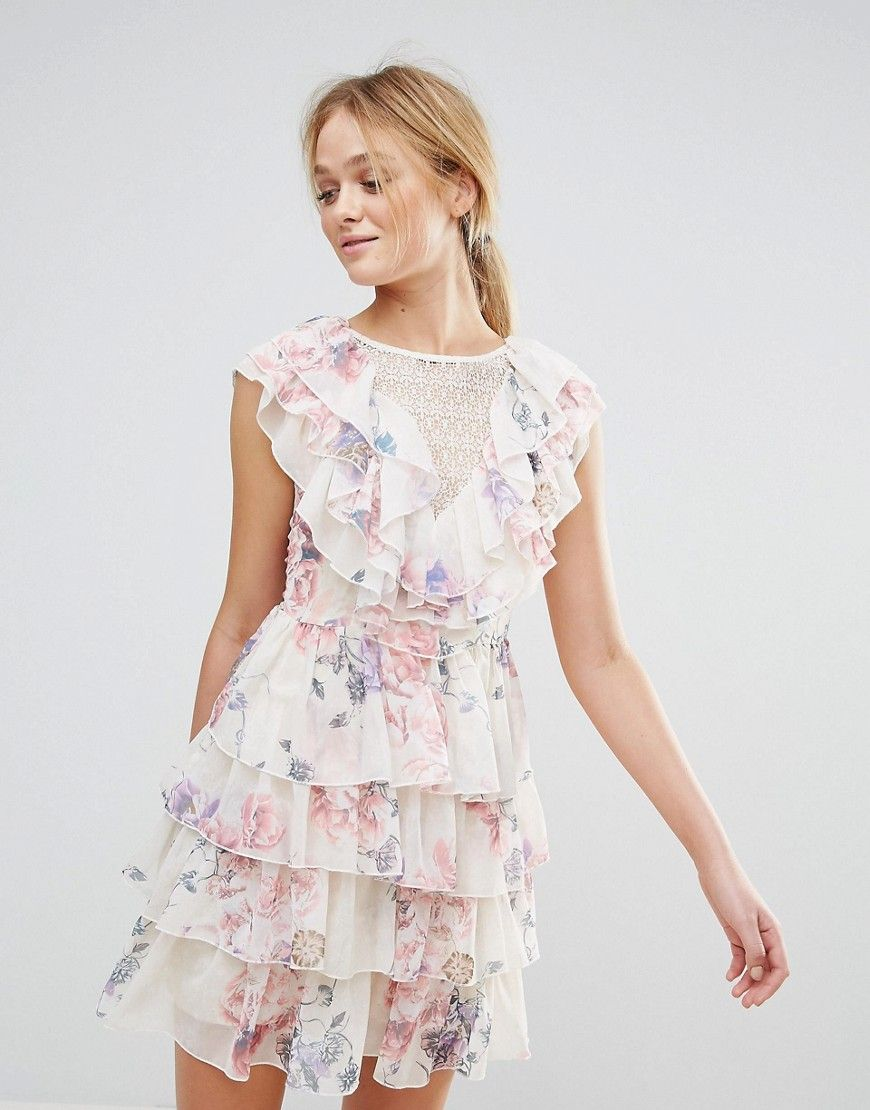 47ccde24a9b9 Y.A.S Ruffle Floral Lace Up Back Mini Dress in 2019 | Sheer tops ...
