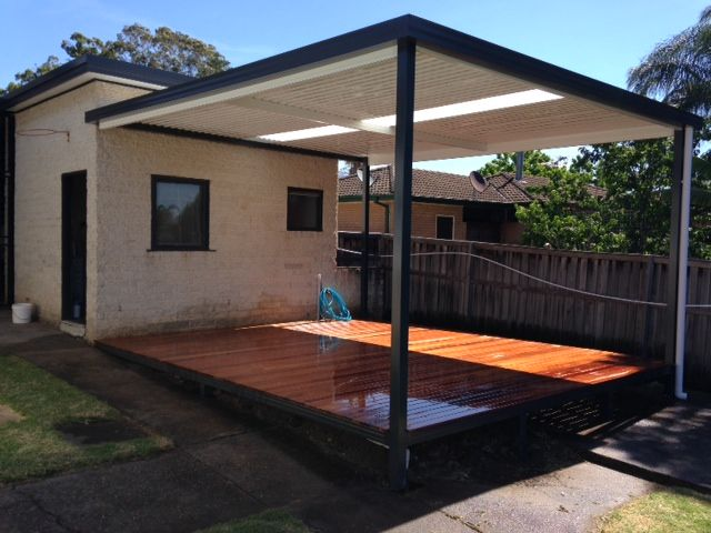 Timber Deck Over Boxspan Frame With Steel Frame Awning
