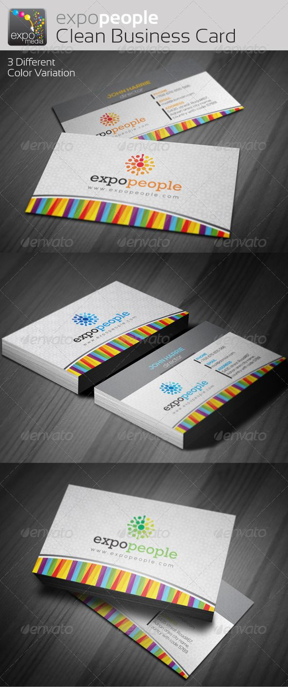 Expo People Corporate Clean Business Cards | Abstract art ...