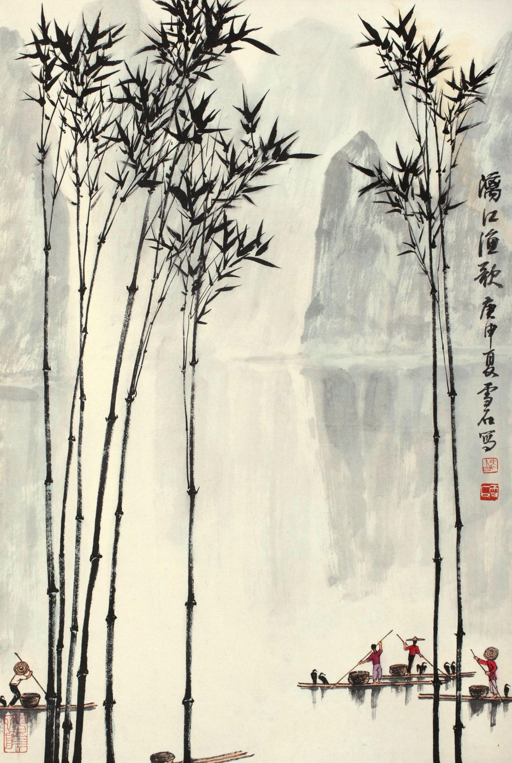Chinese Traditional Bamboo Painting Asian Art Home Decor