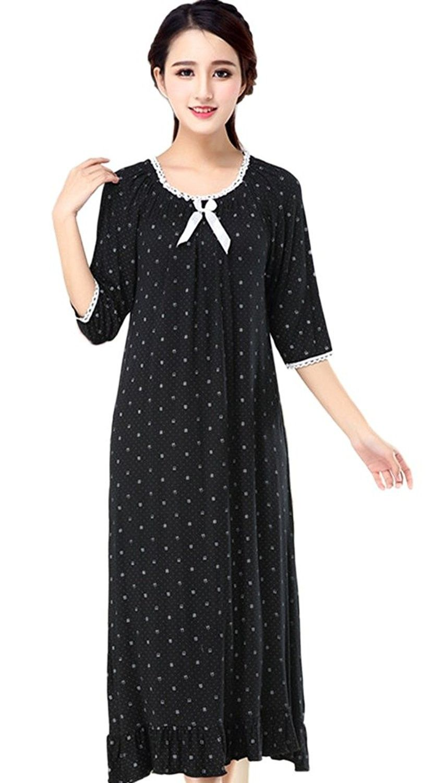 5373cae400 Women s Cotton Victorian Nightgown Casual House Dress - 1 Black -  C812MFTVH5H