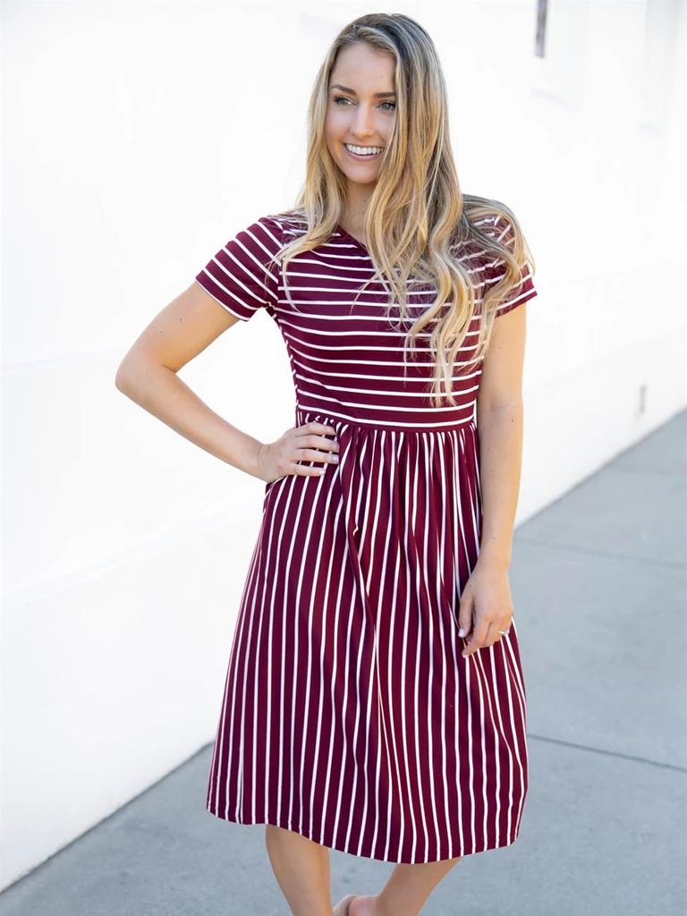 Striped Midi Dress Burgundy Burgundy Midi Dress Striped Midi Dress Midi Dress [ 1024 x 768 Pixel ]