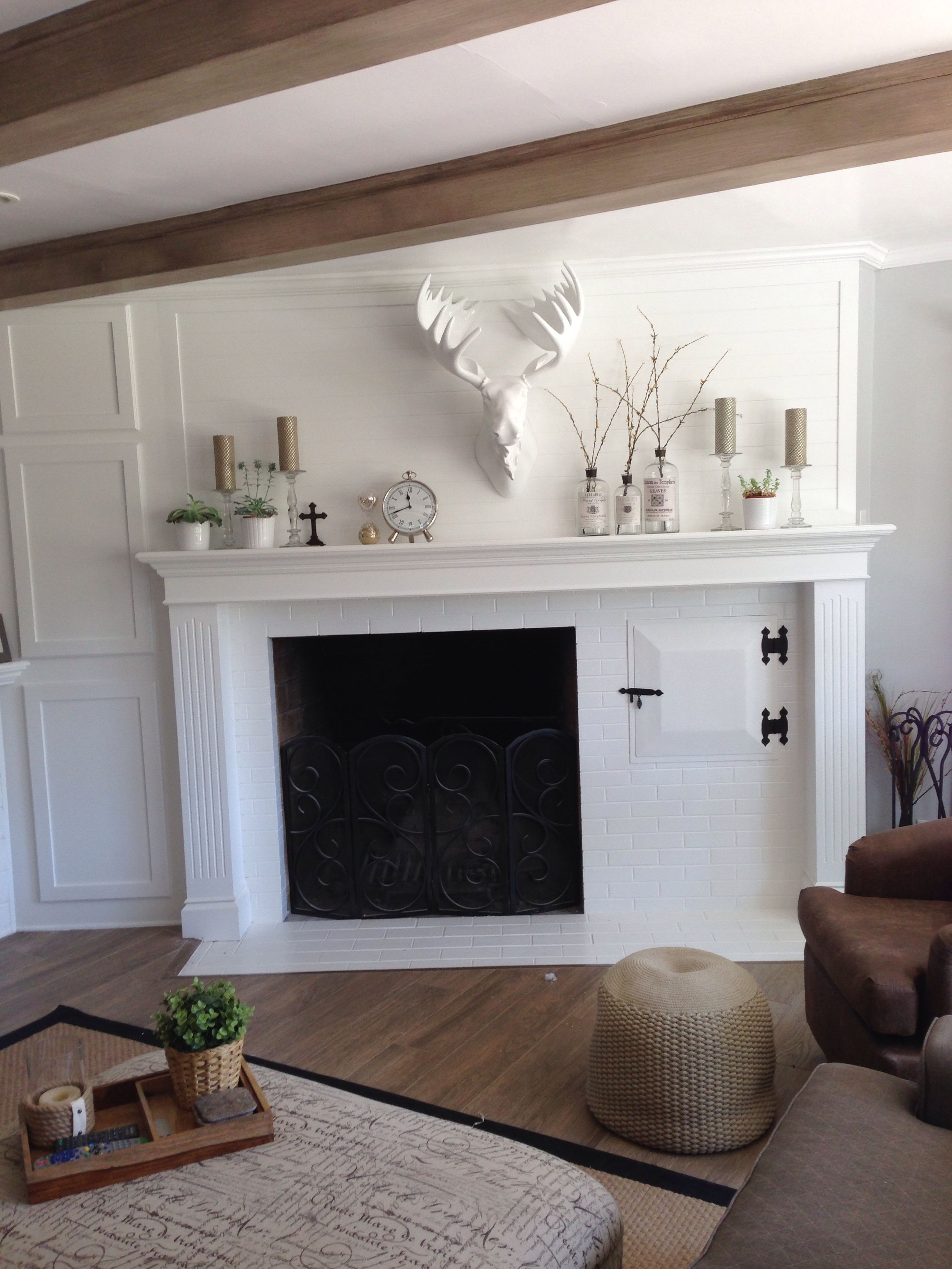 My Finished Mantle Hard To Design Around The Off Centered Fireplace And Wood Storage But I Guess It Ref Fireplace Remodel Home Fireplace Off Center Fireplace