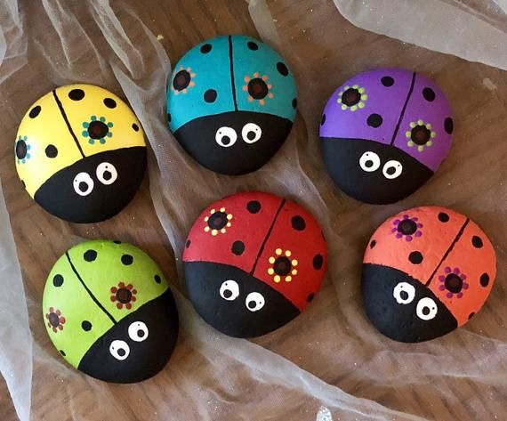 Photo of Flower Ladybug Painted Rock, Garden Stone, Home and Yard Decor, Flowerbed and Potted Plant Accessory, Pet Rock Buddy & Gift SOLD EACH
