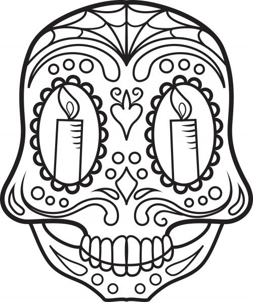 Sugar Skull Coloring Page 7 | Dias de los Muertos | Pinterest ...