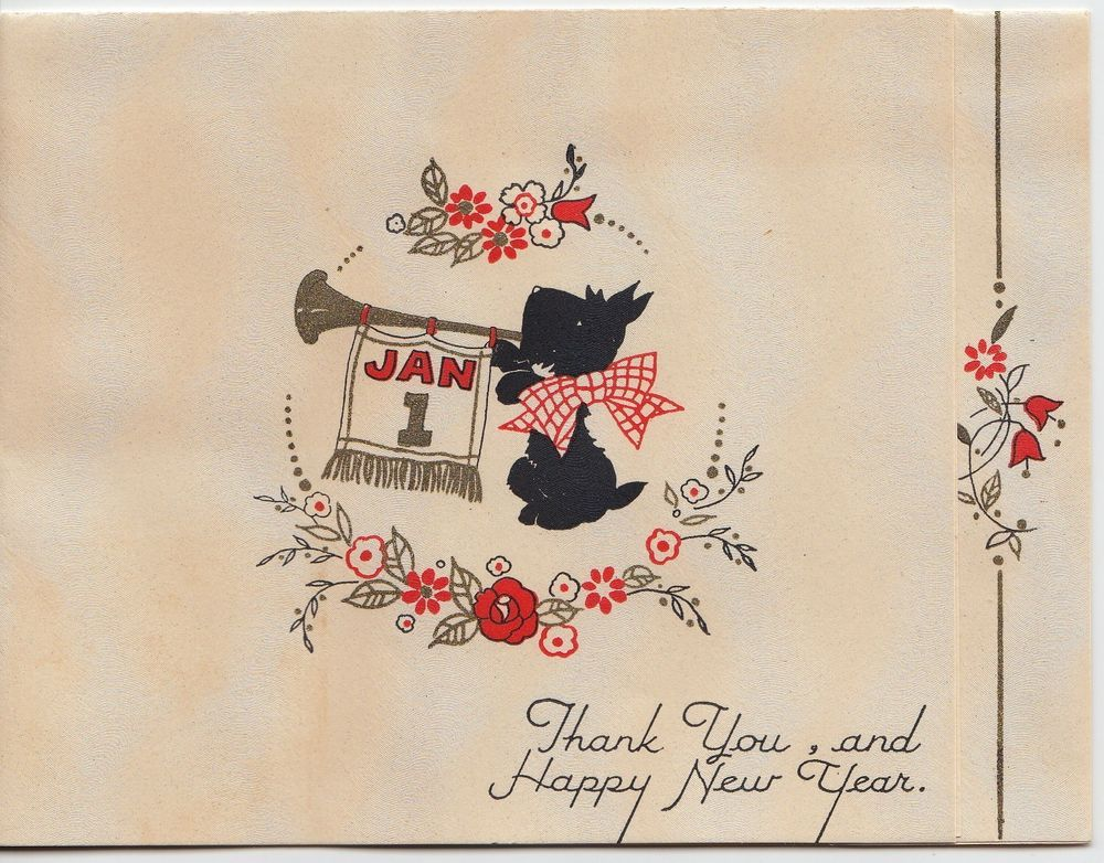 Vintage Greeting Card Happy New Year Scotty Dog 1940s Art