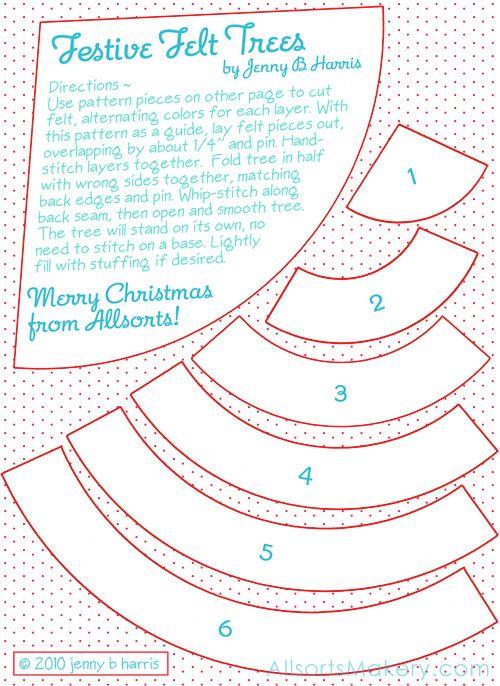 Charming Christmas Tree Decorations To Make Free Patterns Part - 3: Tree Patterns · Miniárvore De Natal De Feltro Passo A Passo Com Molde