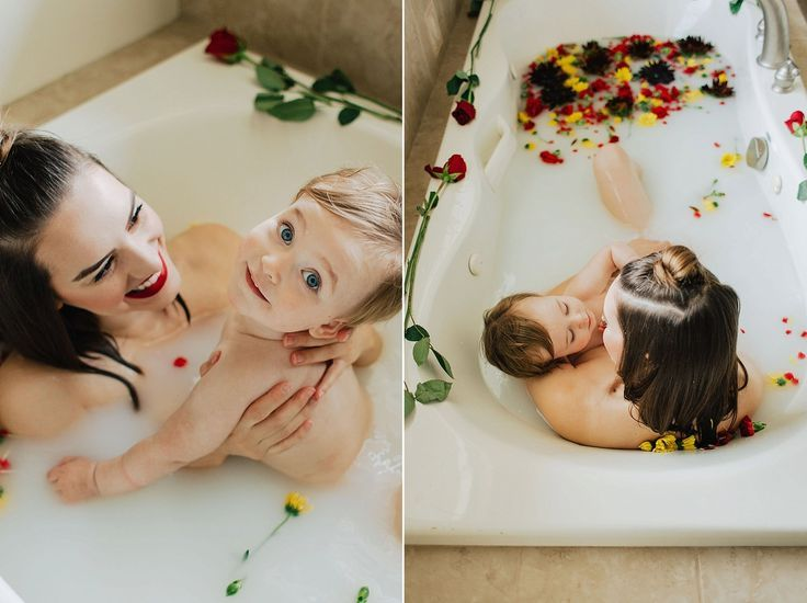Brunette, blonde, baby, toddler, mom, mother, motherhood, mommy, mommy and me, b... #fallmilkbath