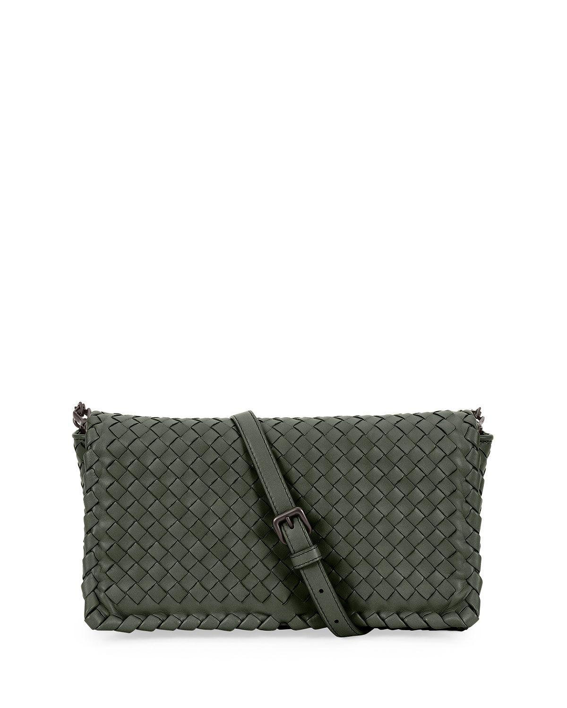 5b954fdb49a Small Intrecciato Flap Clutch Bag w/Strap, Gray, Women's - Bottega Veneta