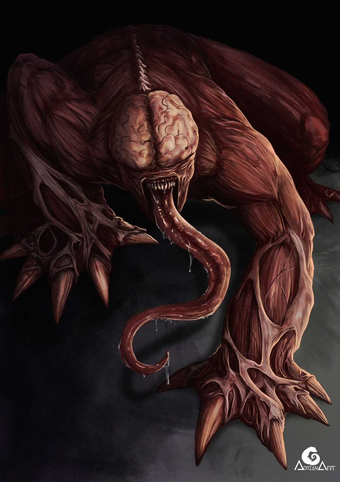 Licker Resident Evil By Adrianart Re2