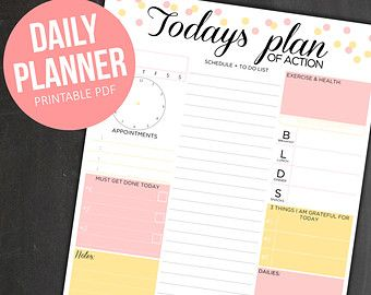 Daily Planner Printable Day Organizer A4 Daily By EasyPeasyPaper  Daily Organizer Template