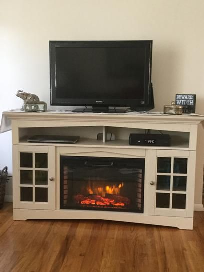 82173434bb0 Home Decorators Collection Avondale Grove 59 in. TV Stand Infrared Electric  Fireplace in Aged White 365-166-165-Y at The Home Depot - Mobile