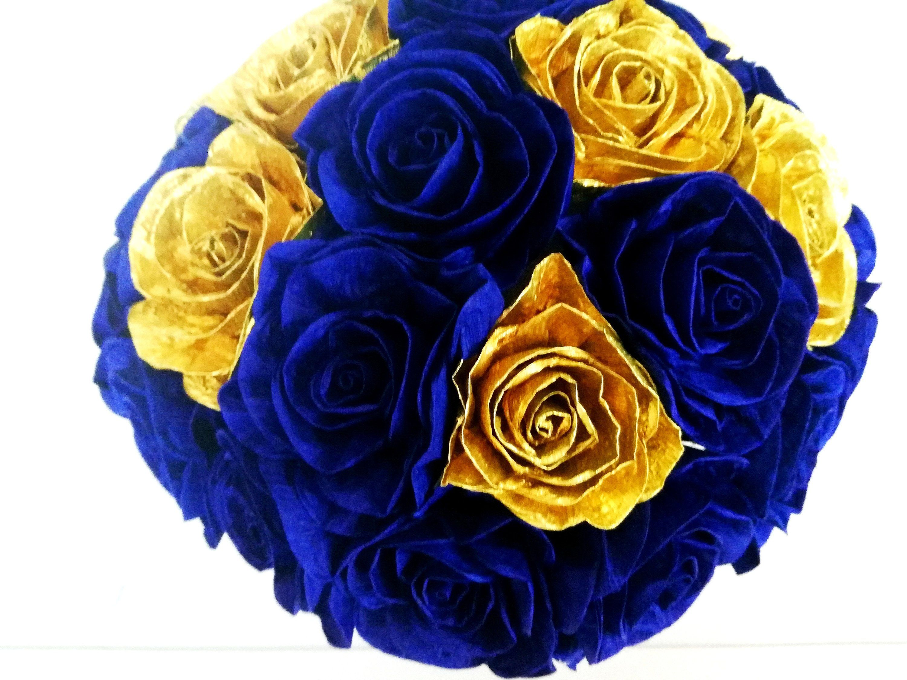 Centerpiece Boy Royal Prince Navy Blue Gold Paper Flowers Table