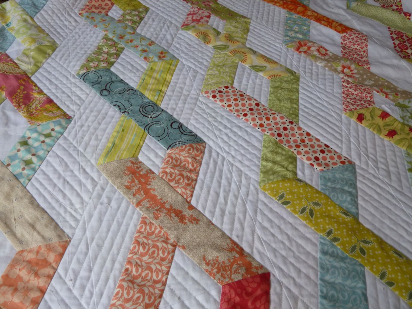 I'm there... the point where straight line quilting is just not fun anymore.      I LOVE how this is coming out but I'm so  sick of it....