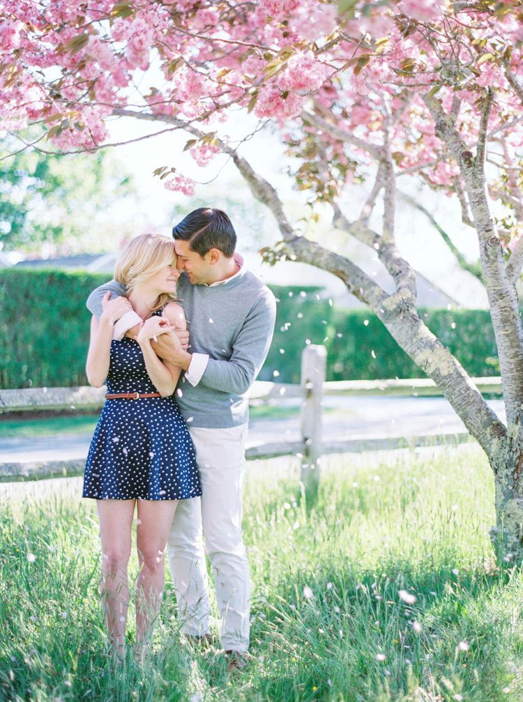 Laughter and love under the cherry blossoms -- sweet polka dot dress and preppy style