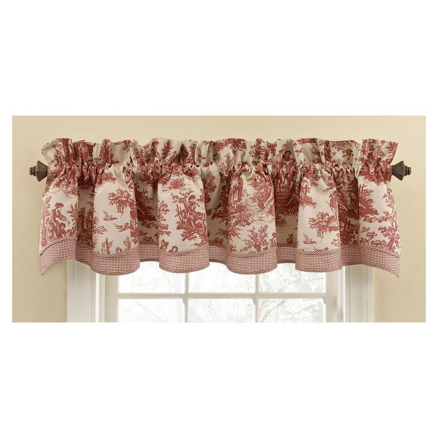 Shop Waverly Home Classics 14 In Garnet Cotton Rod Pocket Valance At Lowes Com Valance Window Valance Rose Bedroom