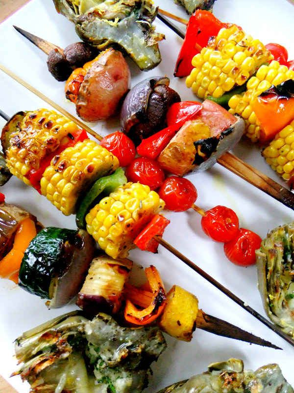 Layer a bunch on skewers for easier handling. | 23 Super Easy Ways To Throw A Healthier Barbecue