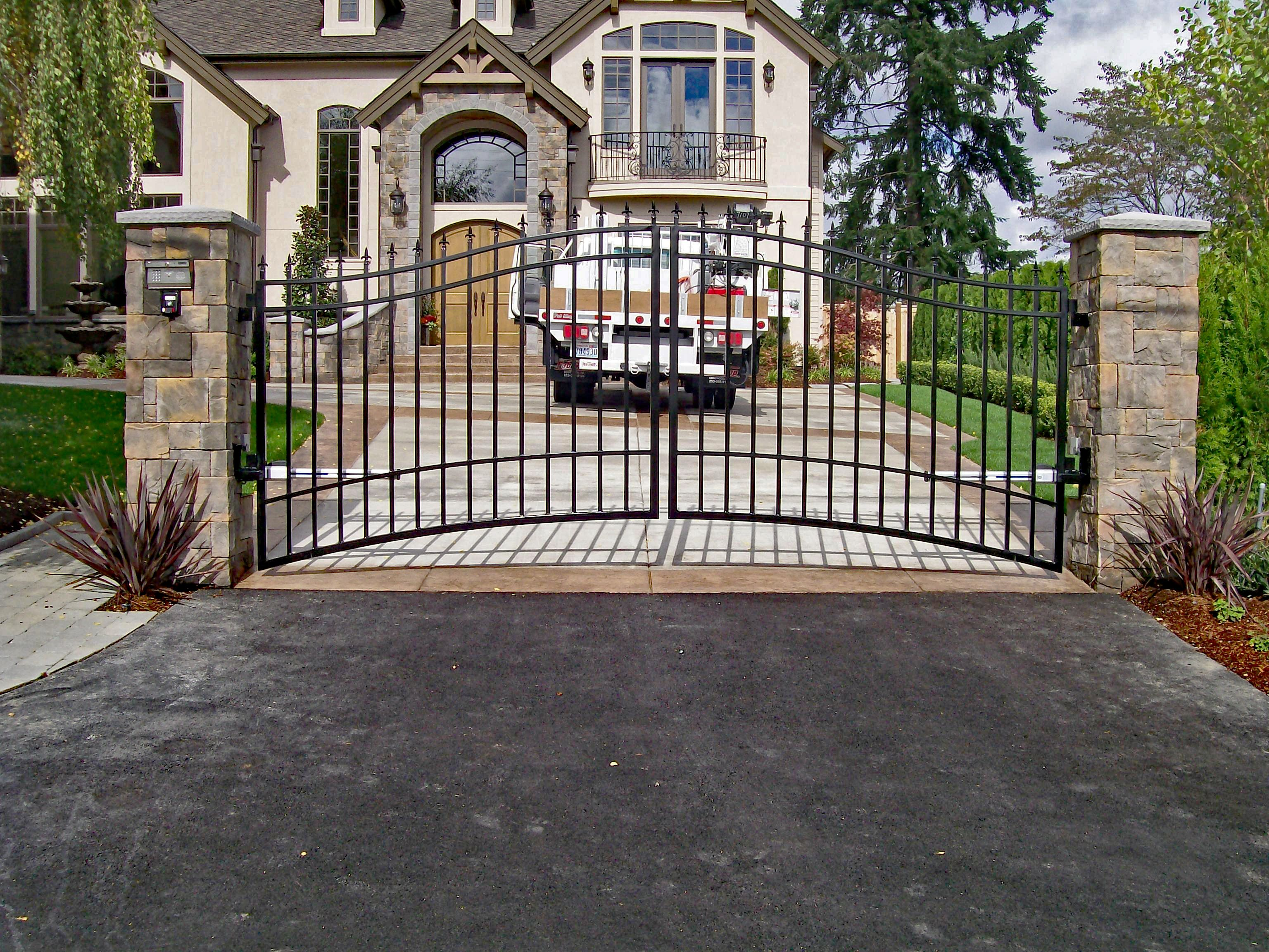 Double Swing Gate Fabricate At An Angle To Account For The Uphill Slope Custom Gate Security Driveway Iron Gates Driveway Metal Driveway Gates Iron Gates