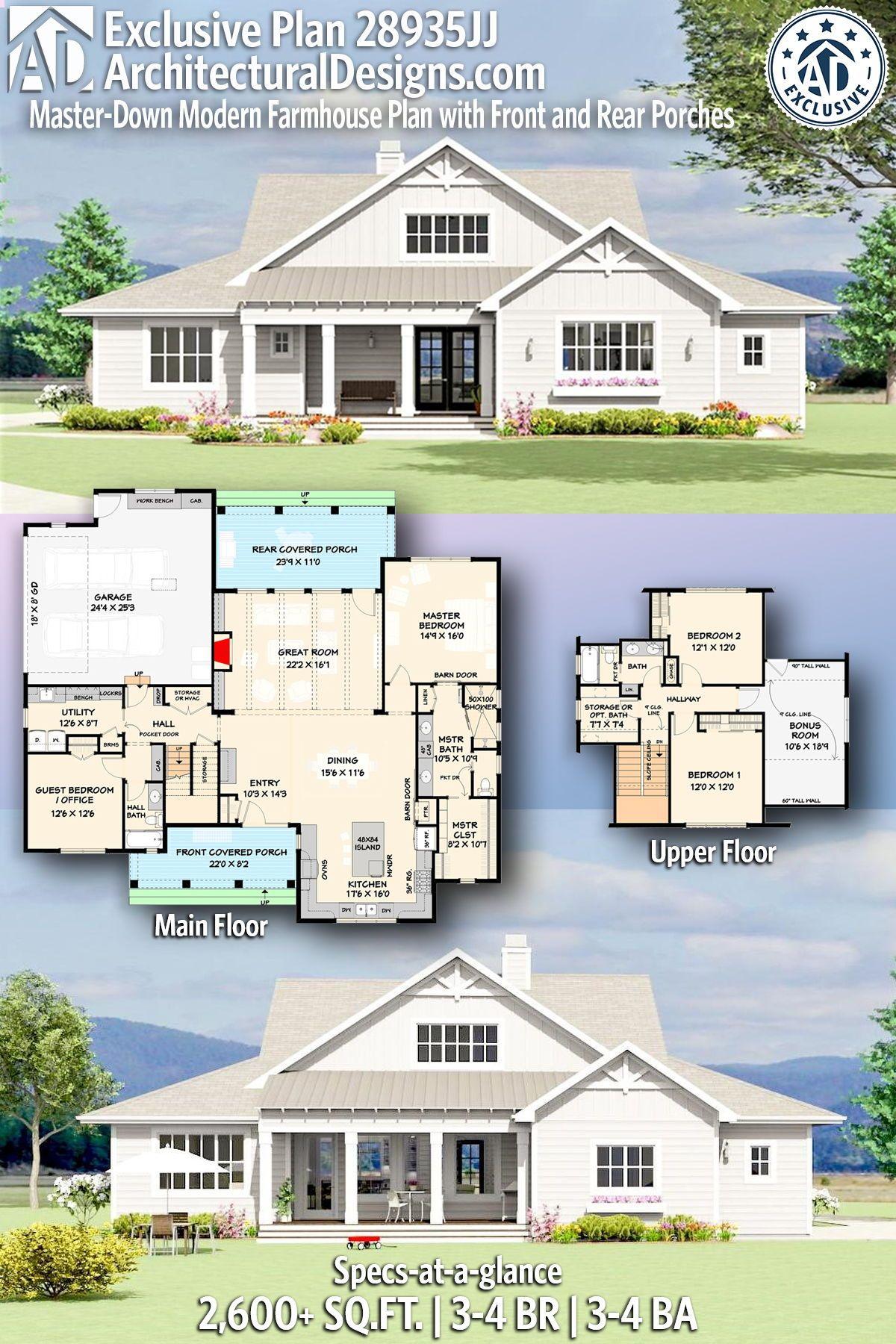 Plan 28935jj Master Down Modern Farmhouse Exclusive Plan