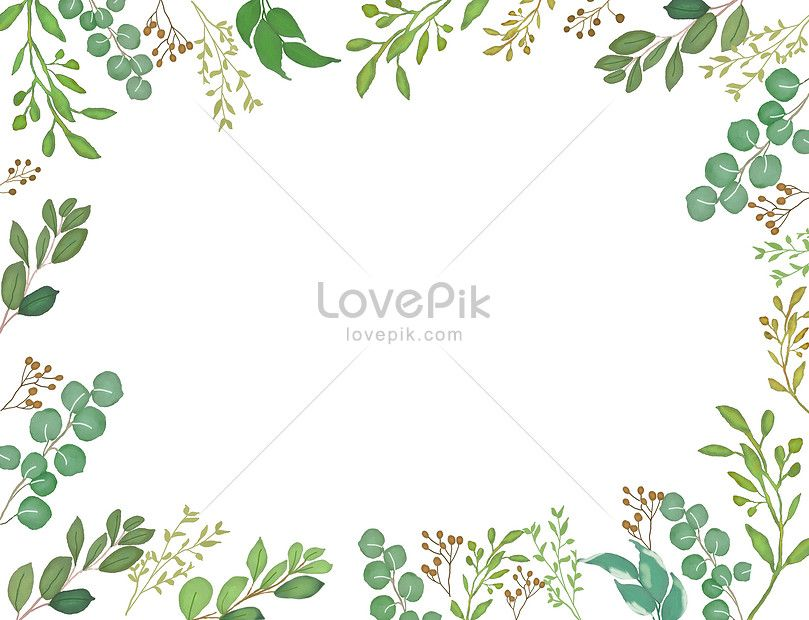 Watercolor And Green Leaf Background Green Leaf Background Hand