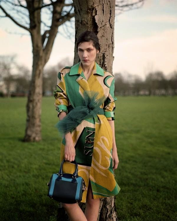 """""""Birds and Bees"""" Liene Podina in Burberry Prorsum for L'Officiel Turkey January 2015"""