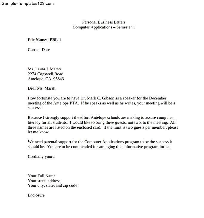 Personal Business Letter Assignment Sample Templates Grade  Home