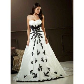 Gorgeous White Wedding Dresses With Black Accents Sweetheart Aline Lace H5fw72