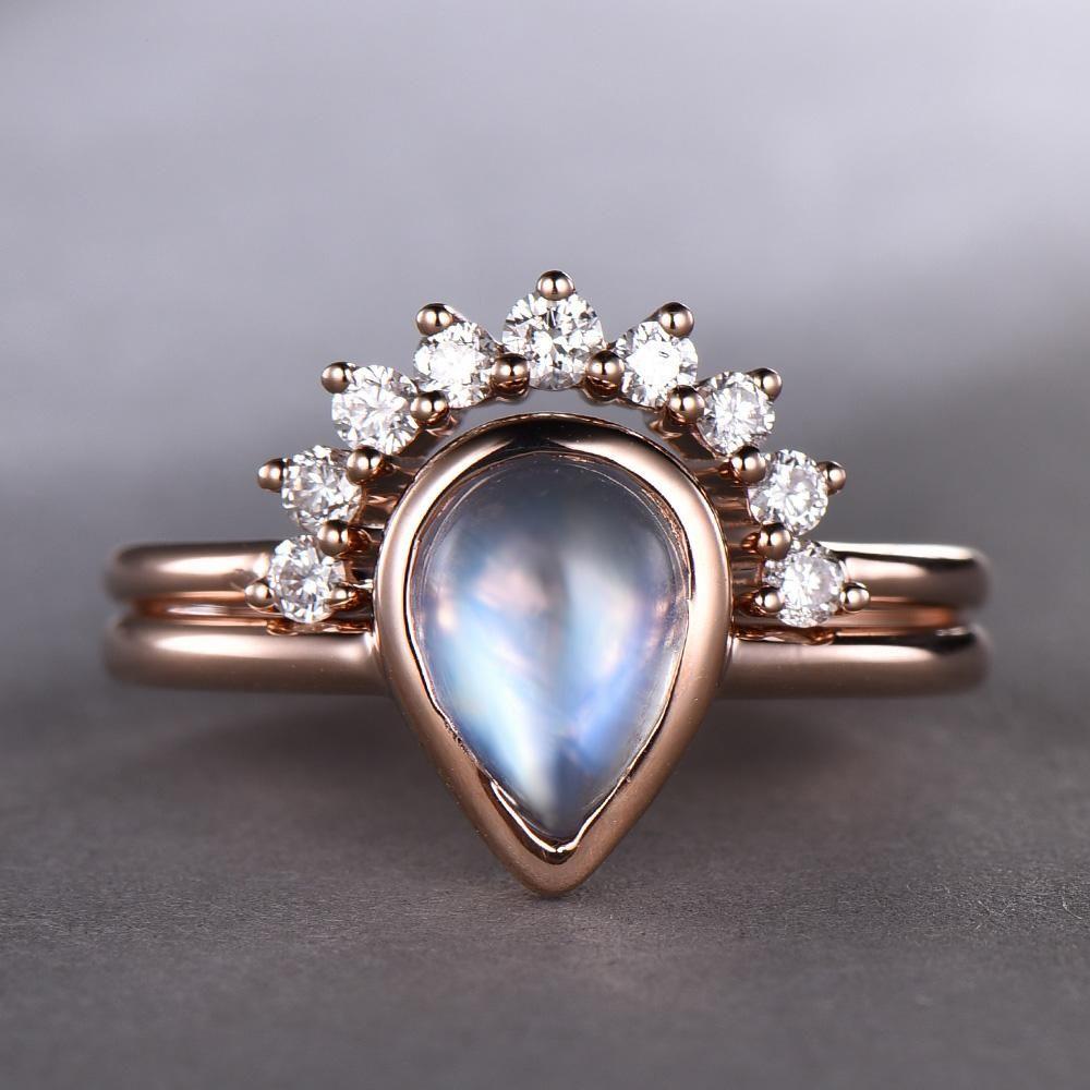 Pear moonstone engagement ring sets diamond contour wedding band k