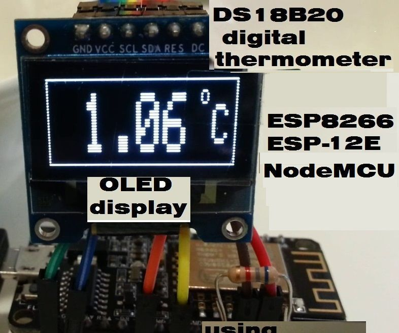 Digital Thermometer on OLED Display Using ESP8266 ESP-12E