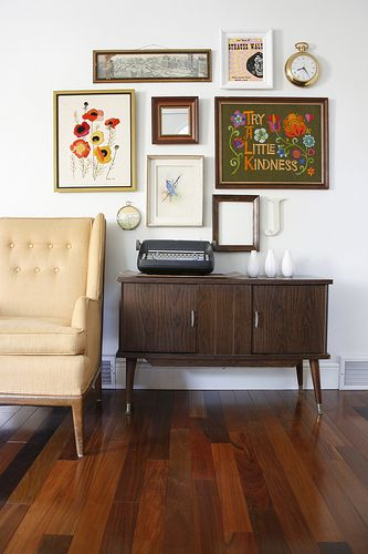 wall of frames vintage entryway by candi mandi
