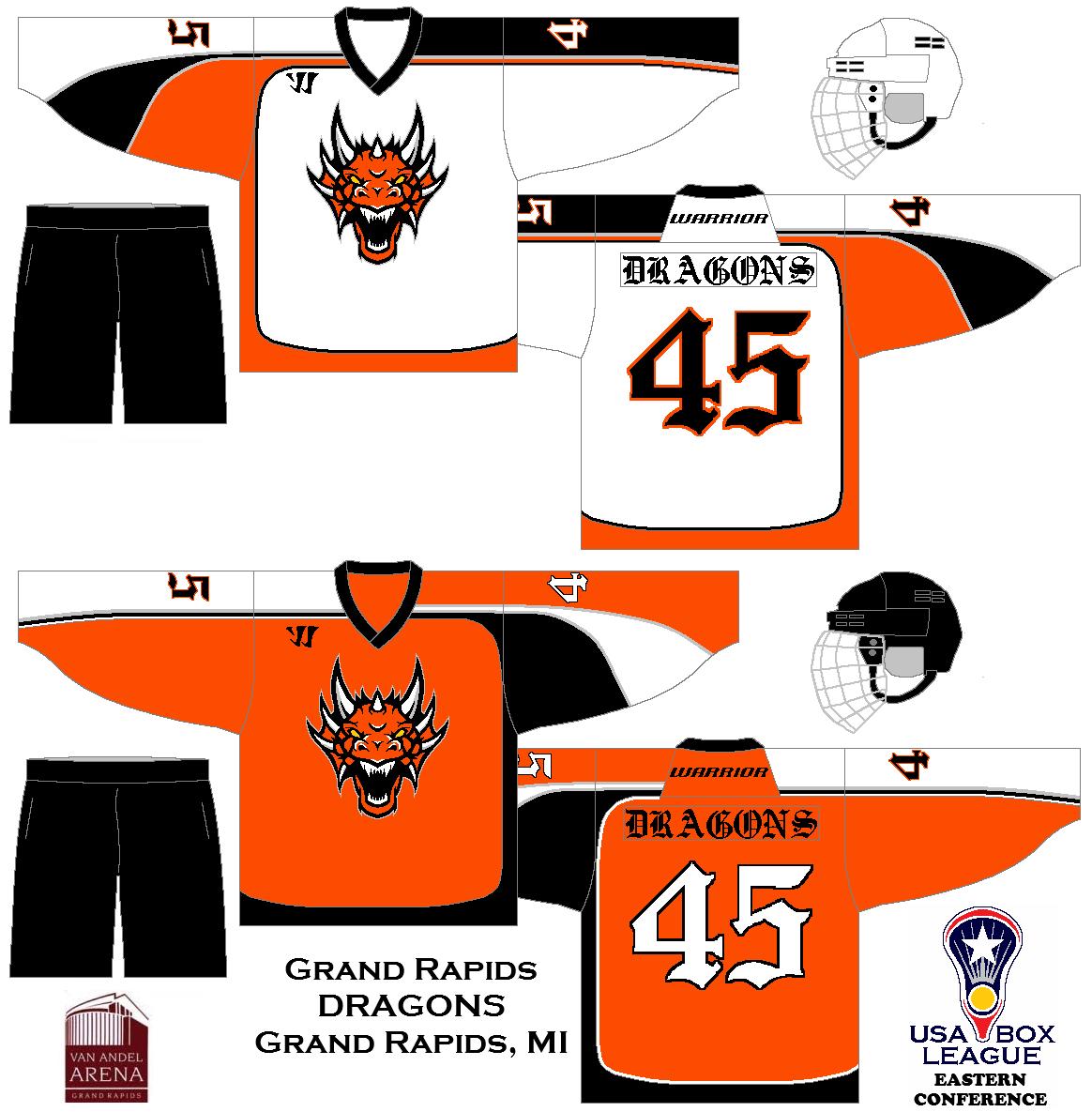 My Fictional Box Lacrosse League The Us Box Lacrosse League Grand Rapids Dragons Uniform Set Concept Box Lacrosse Grand Rapids Lacrosse