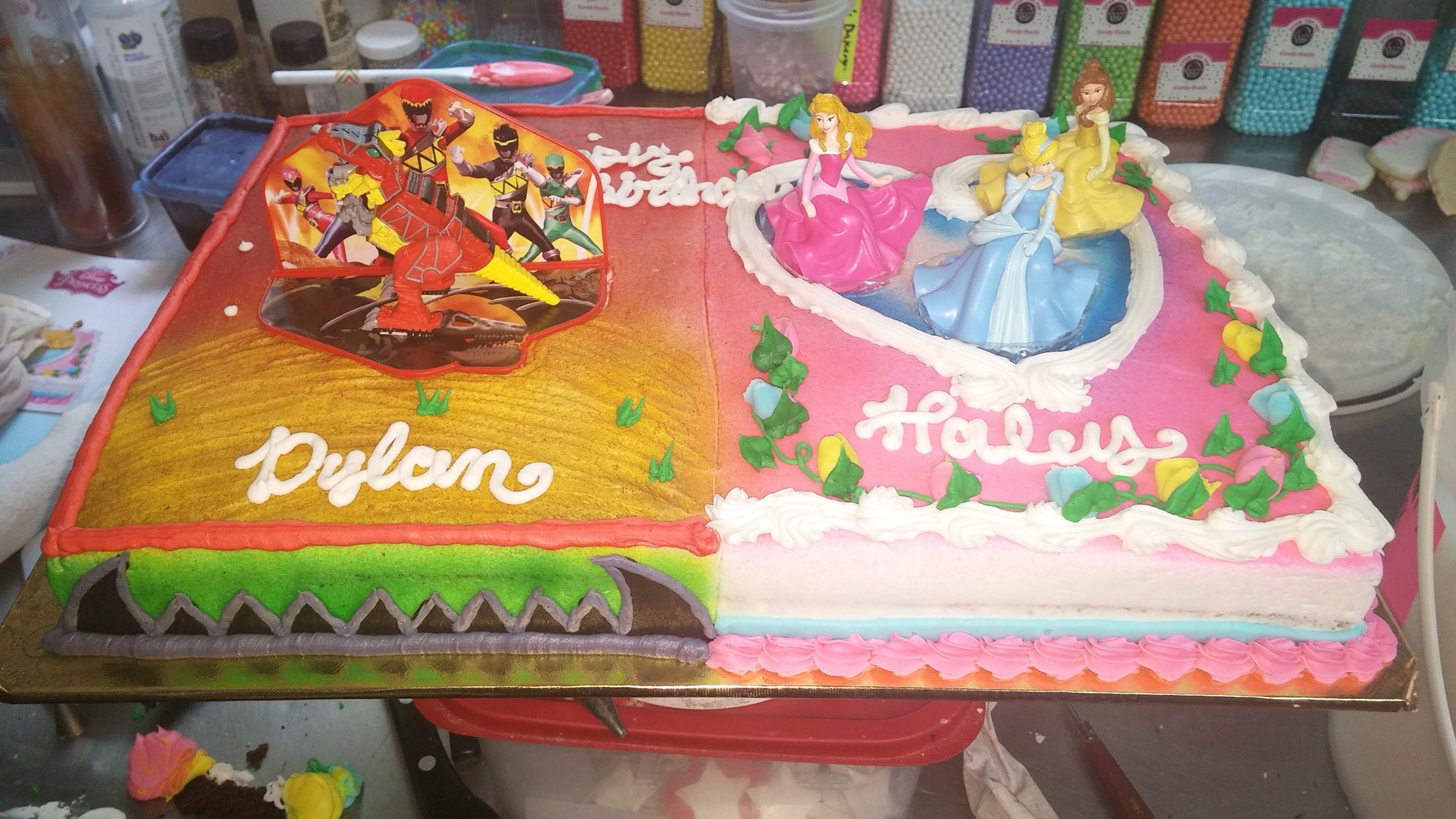 Boy Girl Split Birthday Cake