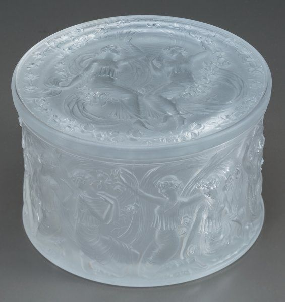 Art Glass:Lalique, R. Lalique Frosted Glass Figurines et Voiles Box. Circa1929. Molded R. LALIQUE, MADE IN FRANCE. M p. 241, No....