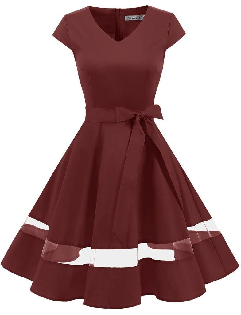 eb3182d8e9d4 Gardenwed Women's Vintage 1950s Retro Rockabilly Swing Dress Cocktail Dress  With Sleeves #womensfashionvintage1950s