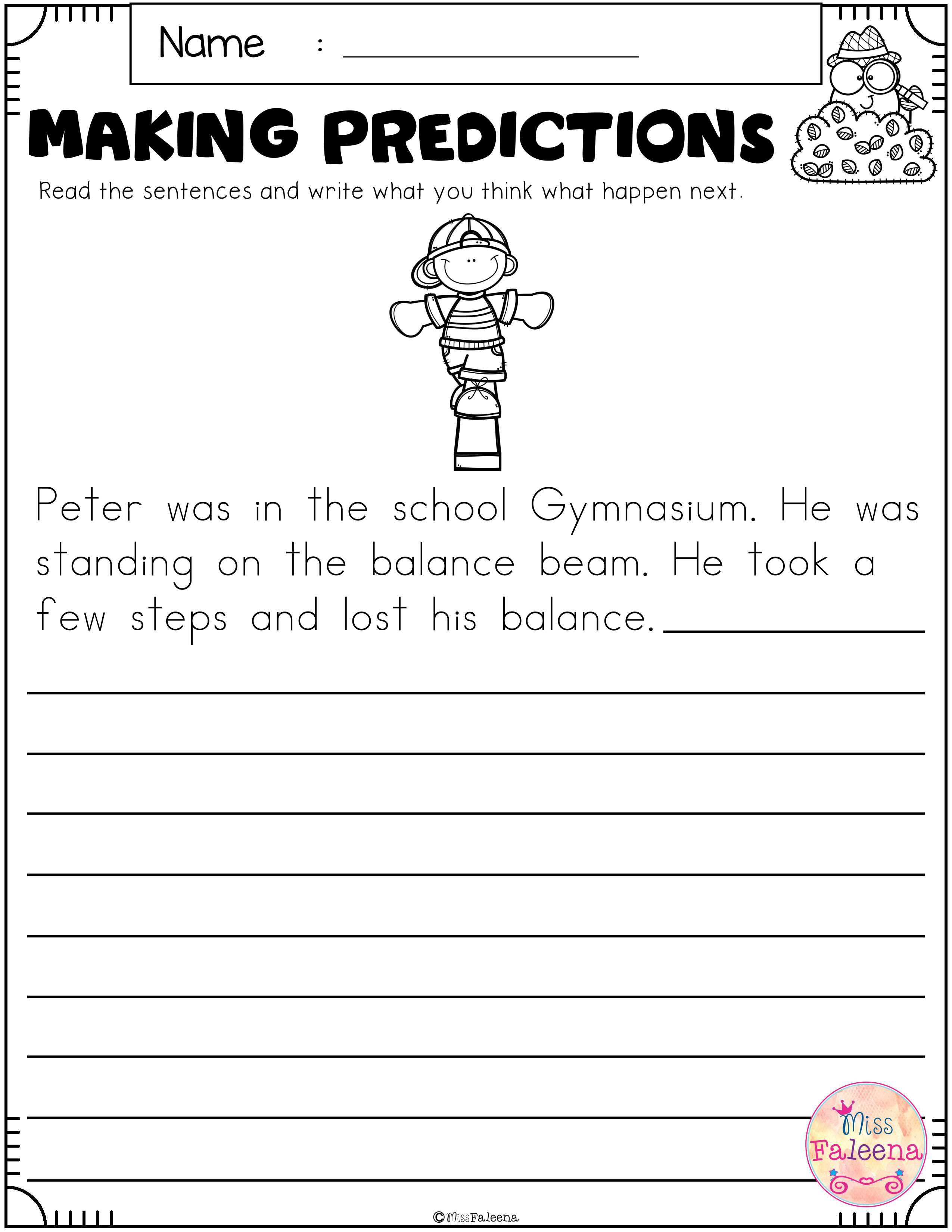 Free Making Predictions In 2020 Making Predictions 2nd Grade Worksheets First Grade Freebies