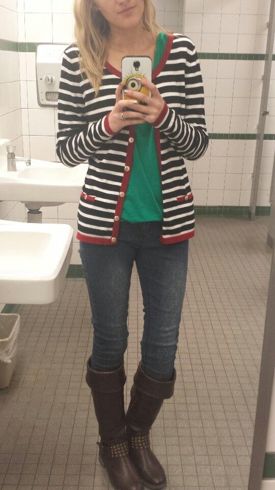 #ootd brown boots. Dark skinnies. Teal shirt. Striped sweater cardigan.