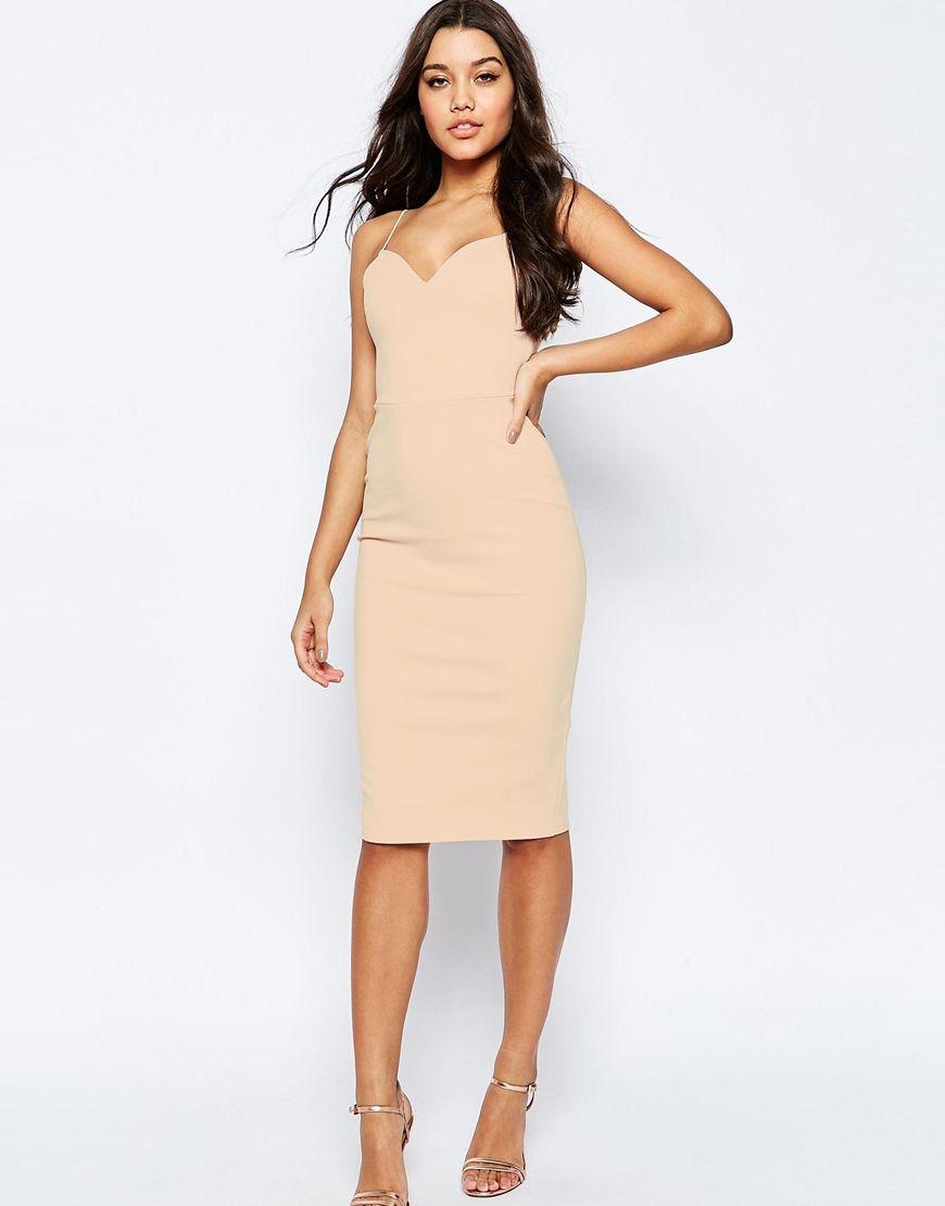 Image 1 of ASOS Scuba Deep Plunge Midi Bodycon Dress | dresses ...