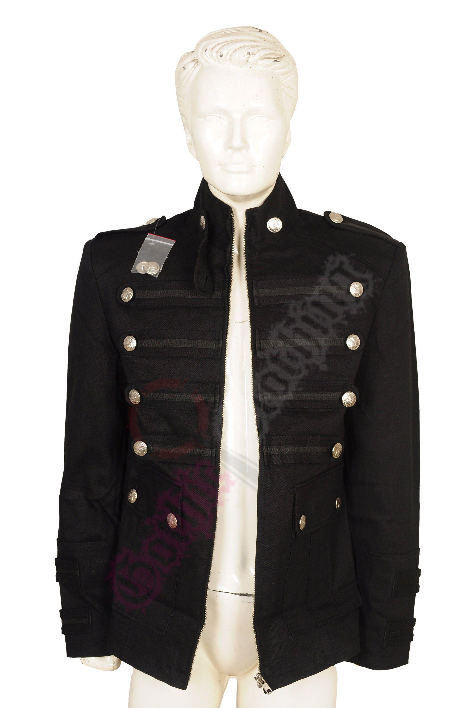 Mens Gothic Military Jacket Band Steampunk Handmade Vintage