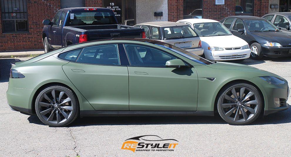 Matte Military Green Tesla Vinyl Car Wrap Car Wraps in