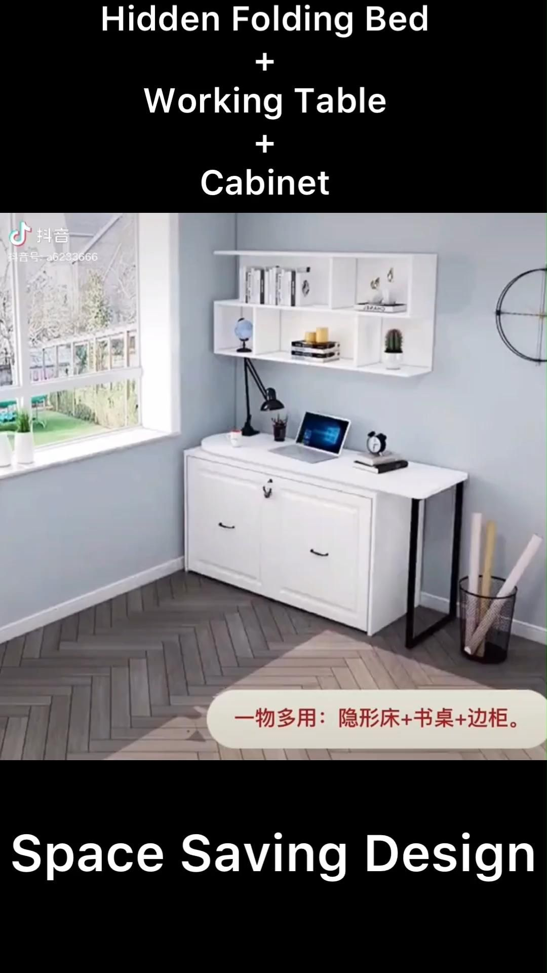 Folding bed+Table+Cabinet Space saving design
