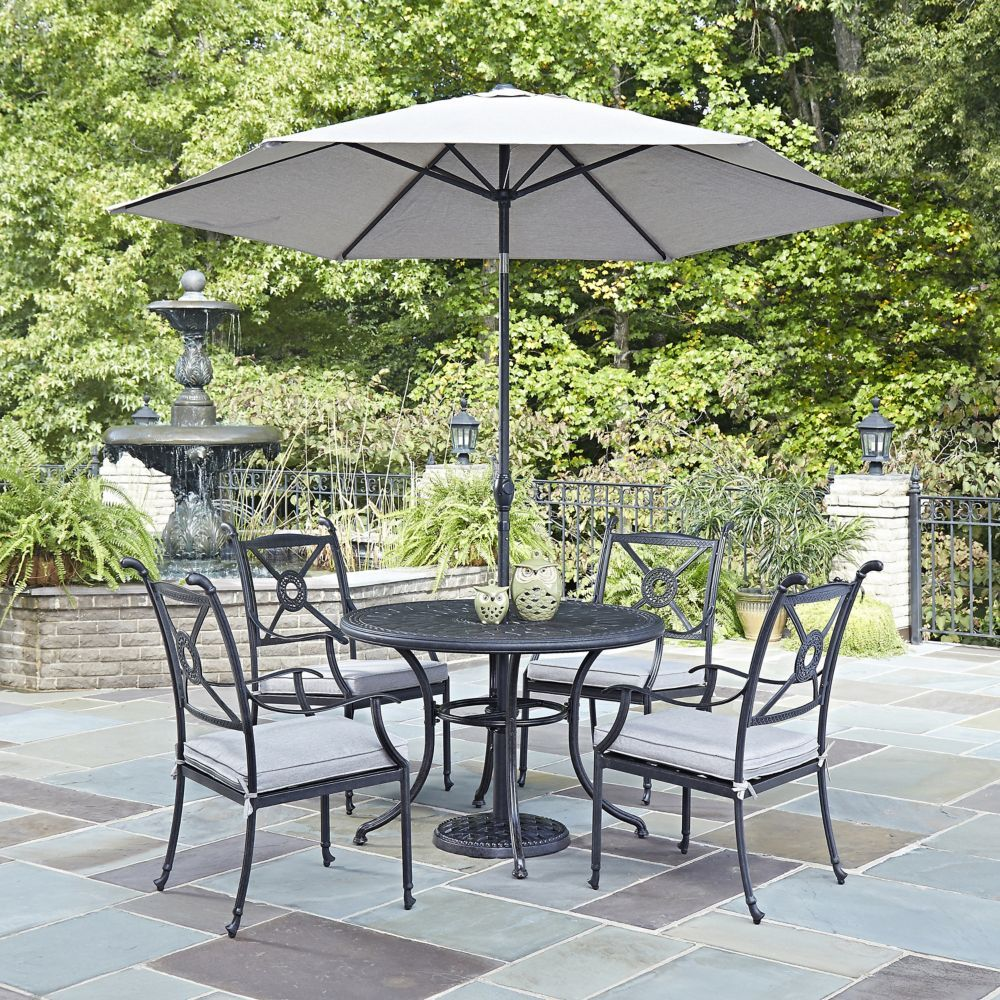 Athens 5 Piece 42 Inch Dining Set With Arm Chairs Umbrella