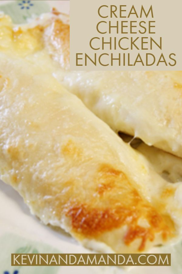 Cream Cheese Chicken Enchiladas These Cream Cheese Chicken Enchiladas are seriously the best, most creamy chicken enchiladas ever. The cheesy white enchilada sauce is to die for!
