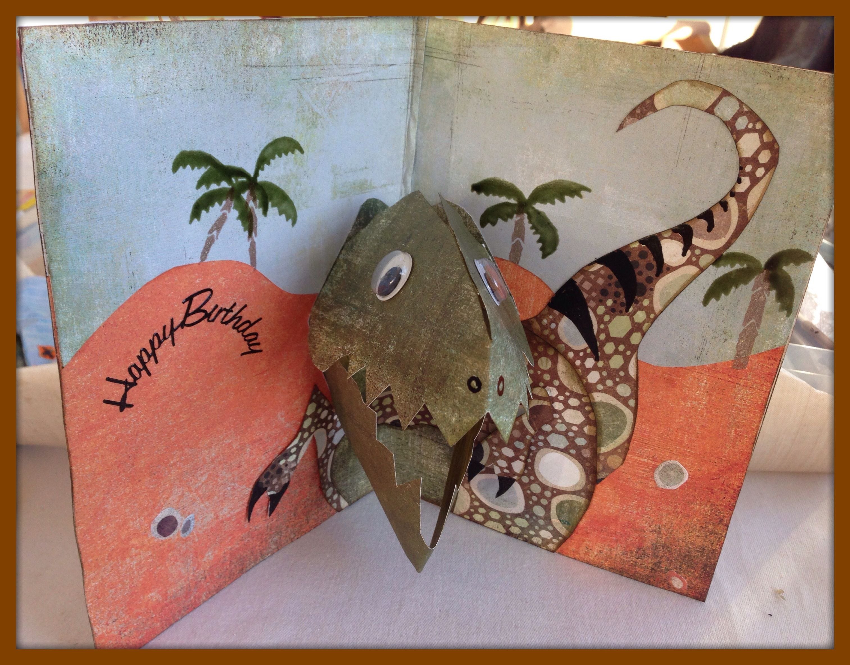 Dinosaur Pop Up Card Middle Pop Up Card Templates Dinosaur Cards Cards Handmade